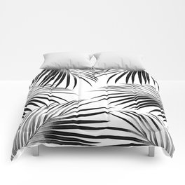 Black Palm Leaves Dream #2 #tropical #decor #art #society6 Comforters
