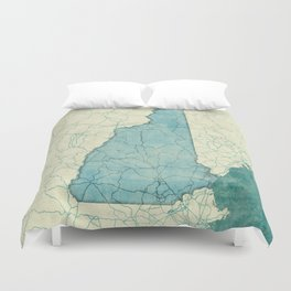 New Hampshire State Map Blue Vintage Duvet Cover