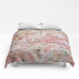 Vintage elegant blush pink collage floral typography Comforters