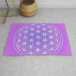 Flower of Life Mandala Purple Blue Rug