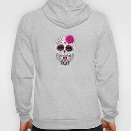 Adorable Pink Day of the Dead Sugar Skull Owl Hoody