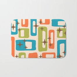 Retro Mid Century Modern Abstract Pattern 921 Orange Chartreuse Turquoise Bath Mat