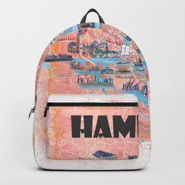 Hamburg Germany Illustrated Map with Main Roads Landmarks and Highlights Backpack