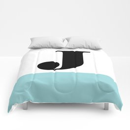 Monogram Letter J-Pantone-Limpet Shell Comforters