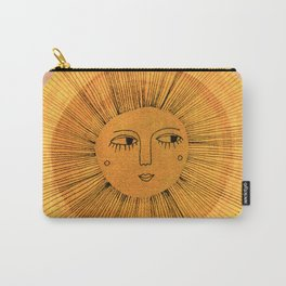 Sun Drawing Gold and Pink Carry-All Pouch