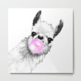 Bubble Gum Sneaky Llama Black and White Metal Print