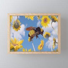 Flower Bee Framed Mini Art Print