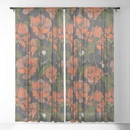 Autumnal flowering of poppies Sheer Curtain