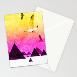 seagulls in shiny sky Stationery Cards