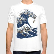 The Great Wave of Pug Mens Fitted Tee MEDIUM White