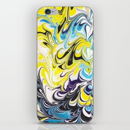 marbling yellow and purple iPhone Skin