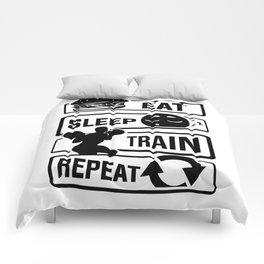 Eat Sleep Train Repeat - Fitness Bodybuilder Power Comforters