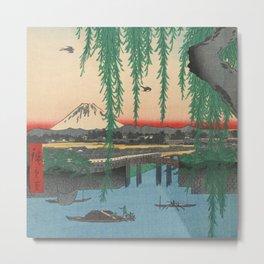 Mount Fuji from Yatsumi Bridge Ukiyo-e Japanese Art Metal Print