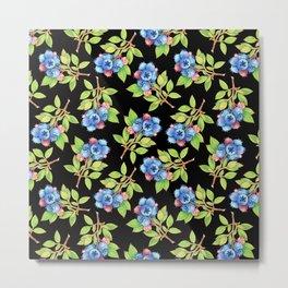Wild Blueberry Sprigs Metal Print