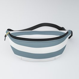 Inspired by Behr Blueprint Blue S470-5 Hand Drawn Fat Horizontal Lines on White Fanny Pack