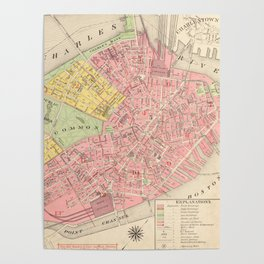 Vintage Map of Boston MA (1876) Poster
