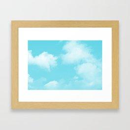 Aqua Blue Clouds Framed Art Print