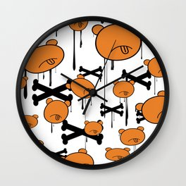 Mad Tongue Out Camo Bear Wall Clock
