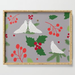 Holly Leaves With Doves on Gray Serving Tray