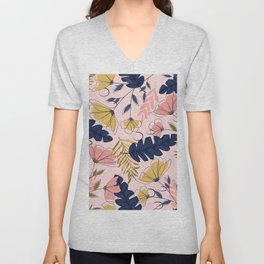 Pink and Blue Flowers Pattern Unisex V-Neck