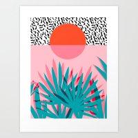 Art Prints featuring Whoa - palm sunrise southwest california palm beach sun city los angeles retro palm springs resort  by Wacka