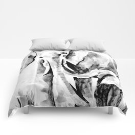 Elephant eskimo kiss black and white Comforters