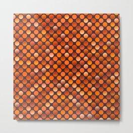 Retro 80s disco terracotta red coins texture Metal Print