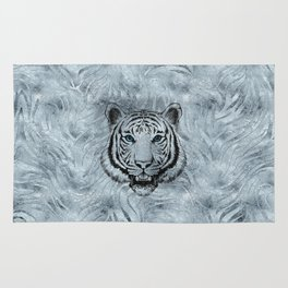White Tiger on Frost glass background Rug