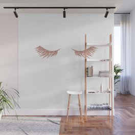 Pretty Lashes Rose Gold Glitter Pink Wall Mural