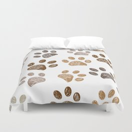 Brown colored paw print background Duvet Cover