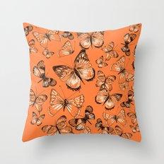 Coral butterflies Throw Pillow