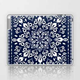 Oriental Damask white on blue #3 Laptop & iPad Skin