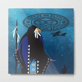 American Native Moon Woman Metal Print