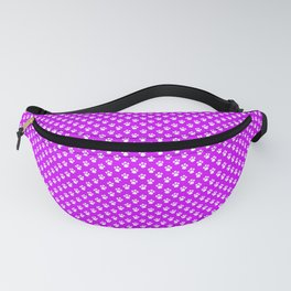 Tiny Paw Prints Pattern - Bright Magenta and White Fanny Pack
