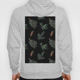 Winter Foliage in Coal Black Hoody