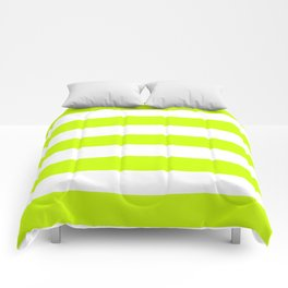 Electric lime - solid color - white stripes pattern Comforters