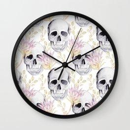 Floral skull glam Wall Clock