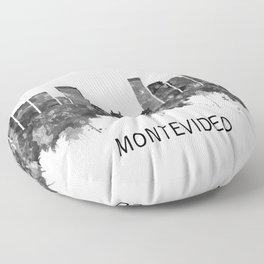 Montevideo Uruguay Skyline BW Floor Pillow