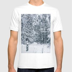 adventures are calling MEDIUM White Mens Fitted Tee