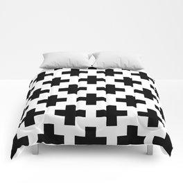 Swiss Cross B&W Comforters