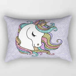 Violet Faux Glitter Unicorn Rectangular Pillow