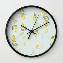 Watercolor Kumquat with Blue Background Wall Clock