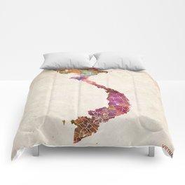 Vietnam map warm colors Comforters