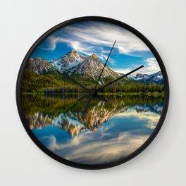 Sawtooth Range Morning Reflection Wall Clock