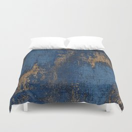 NAVY BLUE AND GOLD PATTERN Duvet Cover