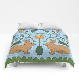Rabbits in the Garden Folk Art Comforters