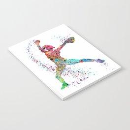 Baseball Softball Pitcher Watercolor Print Art Print Girl's Softball Painting Notebook