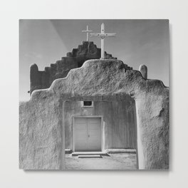 Ansel Adams - Taos Pueblo Church Metal Print