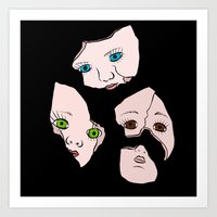 Broken Dolly Faces Art Print