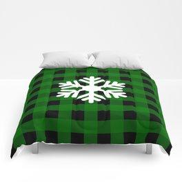 Snowflake - green buffalo check - more colors Comforters